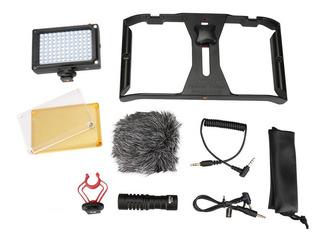 Kit Estabilizador Rig + Microfono Andoer Mm1+ Luz Led 64