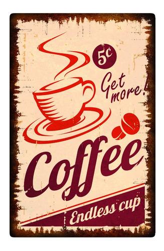 Imagen 1 de 5 de Cuadros Madera Decorativos 19x29cm Vintage Cafe Coffe