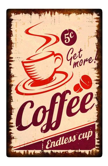 Cuadros Madera Decorativos 19x29cm Vintage Cafe Coffe