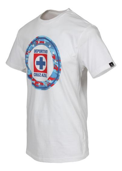 Playera Oficial Cruz Azul Logo Camu Adulto Producto Original