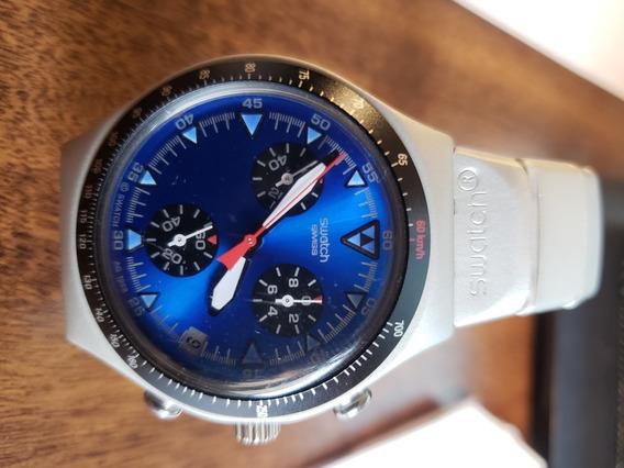 Relógio Swatch Irony Aluminium Raro Azul Prata Fosco