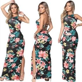 6915b9e565 Vestido Longo Estampado Malha - Vestidos Casuais Longos Femininas no ...