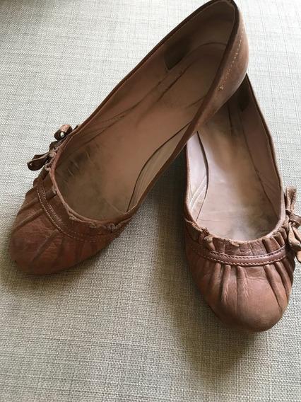 Chatitas/ballerinas 36 De Cuero Sibyl Vane Tostado