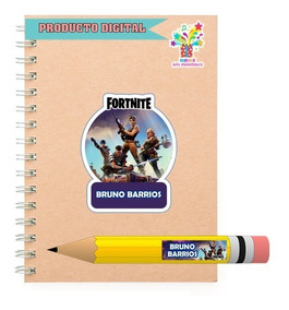 Kit Imprimible Etiquetas Escolares Fortnite S19