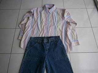 Conjunto De Jeans Con Camisa Para Dama, Dkny Jeans, T-chica Y Blusa Mediana Lands End