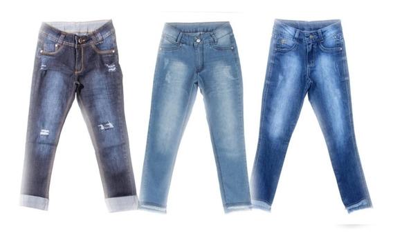 Kit 3 Calcas Jeans Meninas Feminino Tamanhos 10 12 14 16