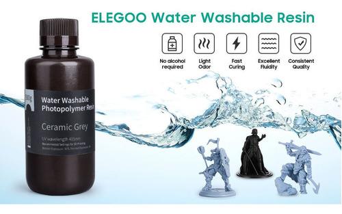 Imagen 1 de 4 de Resina Elegoo 3d Lavable Con Agua Para Impresion 3d Gris 1kg