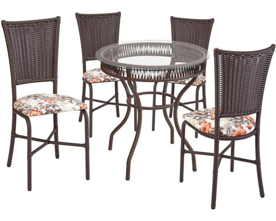 Conjunto Fil Mesa Primavera Com Tampo De Vidro 4 Cadeiras