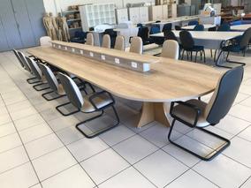 Mesa De Reunião Oval C/ 12 Cadeiras Em Couro Bege Semi-nova