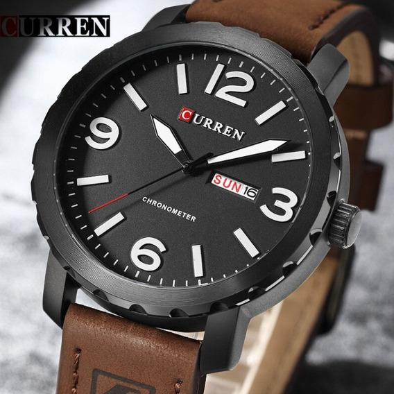 Relógio Masculino Aço Inoxidável Couro Marrom Importado Novo