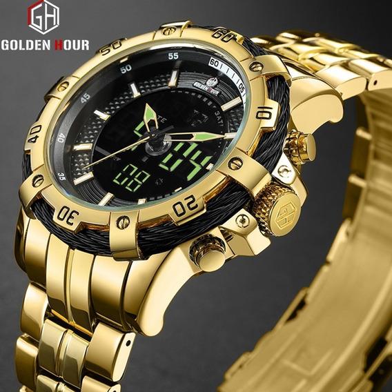 Relógio Masculino Dourado Goldenhour Gh-121