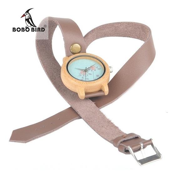 Relógio Feminino Madeira Analógico Bobo Bird M23 Promoção