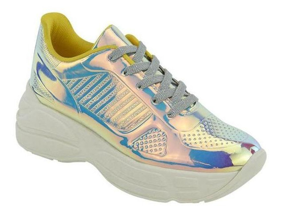 Tenis De Mujer Con Plataforma Tornasol Tipo Sneakers 020939