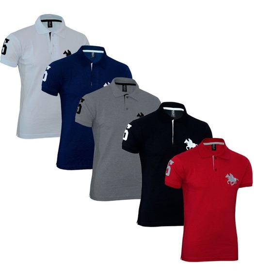 Kit Camiseta Polo Tradicional Com Logo Bordado Lisa