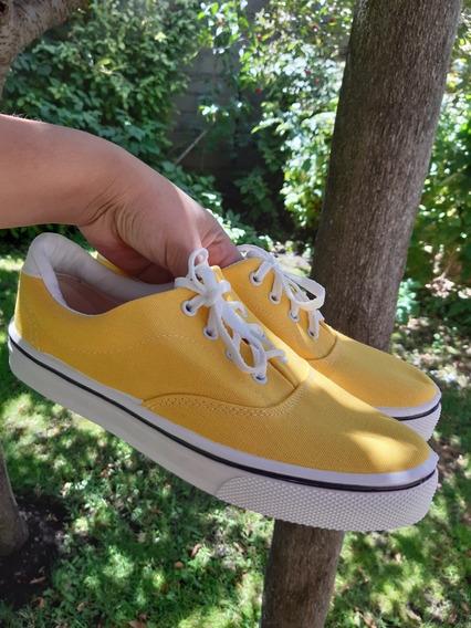 Zapatillas De Lona Unisex Número 40 Amarilla/turquesa-verde