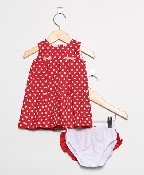 Vestido Bebê Poá Com Tapa Fraldas