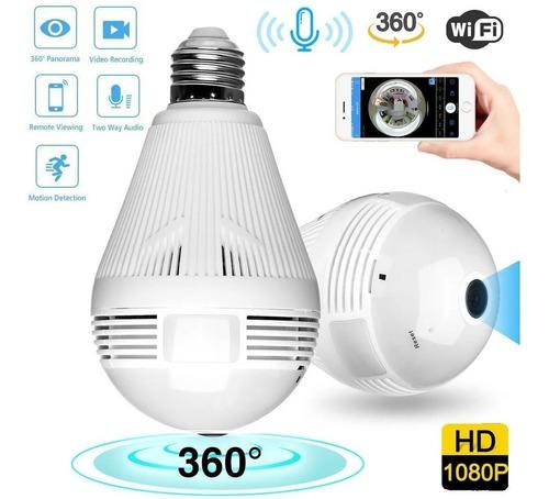 Imagen 1 de 8 de Foco Lámpara Led Cámara Espía 360° Wifi Sonido Sensor Alarma