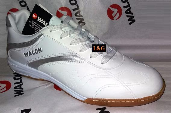 Zapatillas Blancas Walon De Cuero Tallas De 35 A 43 Fútbol