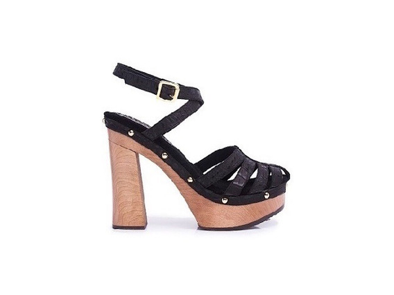 Zapato Mujer Sandalia Plataforma Natacha Cuero Negro #3991