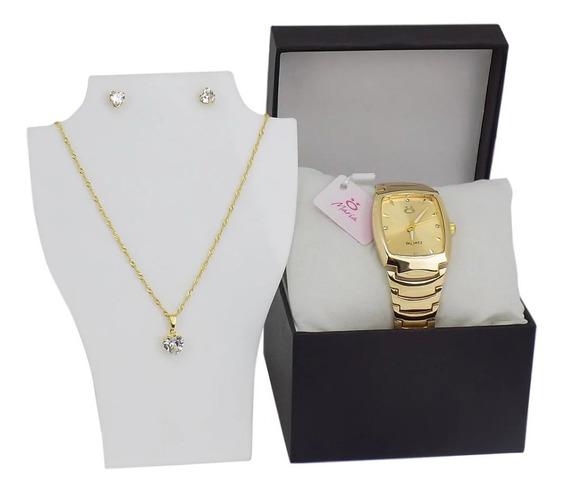 Relógio Feminino Original Orizom Dourado + Colar & Brinco Li