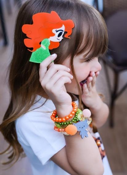 Pulseiras Infantis 03 Kits + 03 Presilhas Broche Aplique Em Acrílico