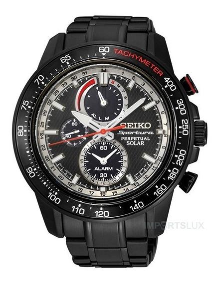 Relógio Seiko Sportura Solar Preto Chronograph Ssc373 Nfe