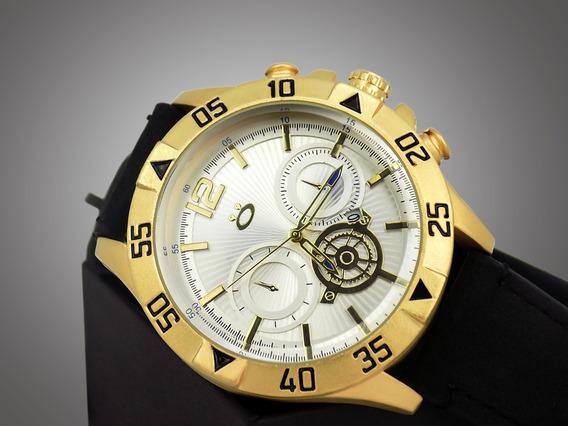 Relógio Masculino Original Dourado Pulseira Couro + Caixa