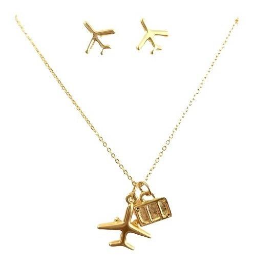 Set Collar Y Aretes Avión Viajes Maleta Dorado