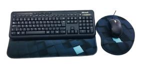 10 Kit Mouse Pad Key Pad Ergonômico Azul Preto Apoio Teclado
