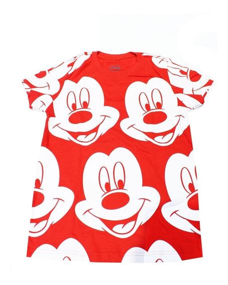Remera Disney Mujer Mickey Caras Roja (0053)