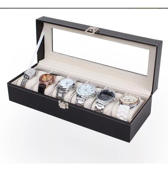 Caja Exhibidor Para 6 Relojes + 1 Regalo Reloj