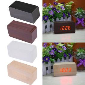 Relógio Digital De Mesa Retrô Design Tipo Madeira Com Alarme