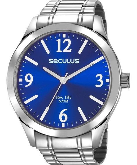 Relógio Seculus Masculino Long Life Analógico Prata Azul