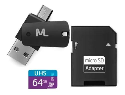 Cartão De Memória Multilaser Ultra Speed-i 64gb Mc152 -preto