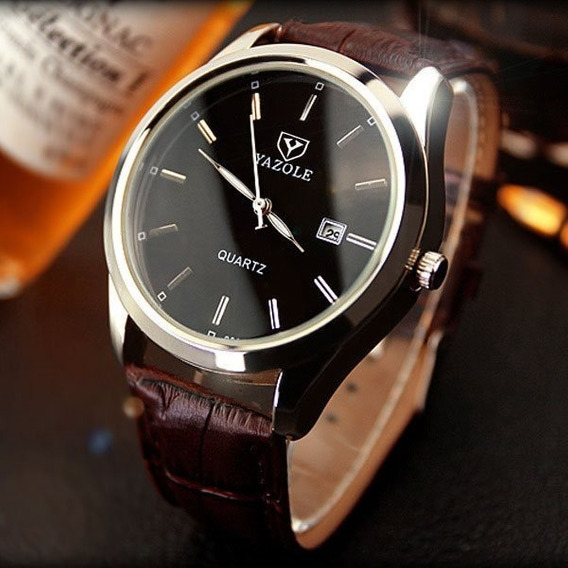 Reloj Para Hombre Elegante Acero Vidrio Negro Con Calendario