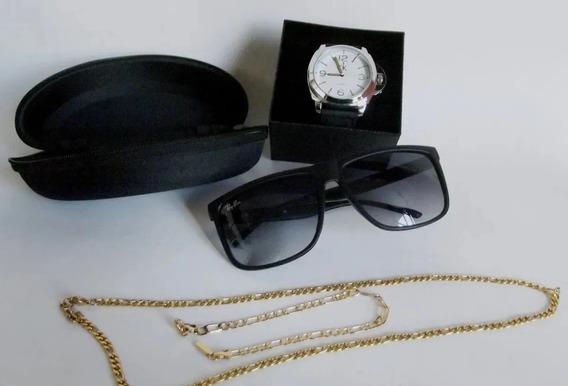 Kit Relógio Masculino + Óculos + Pulseira+colar + Brinde