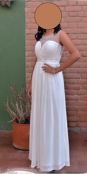 Vestido De Gala Blanco Talla S - Importado