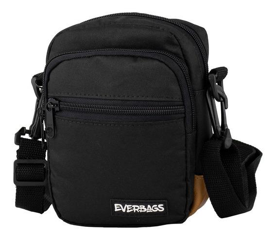 Shoulder Bag Bolsa Pochete Preta Marrom Everbags Necessaire