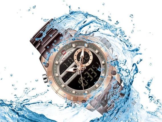 Relógio Masculino Naviforce 9163 Resiste Água Café Casual