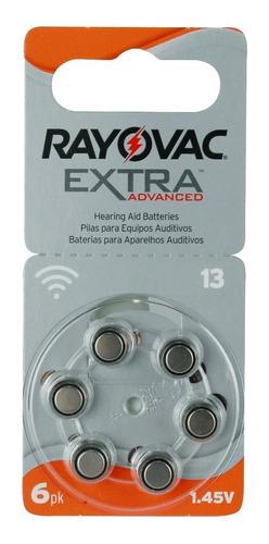6 Pilas Para Audífono #13. Rayovac Extra Originales, 1.45 V