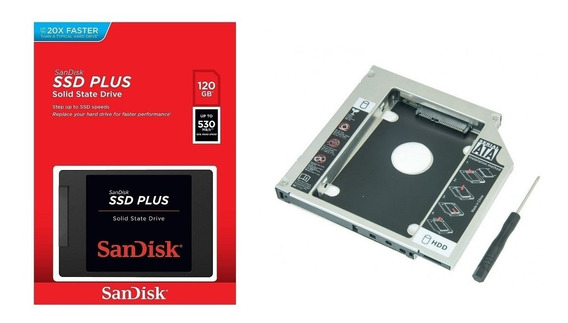 Kit Ssd Sandisk 120gb Plus + Adaptador Caddy 12.7mm C/ Nfe