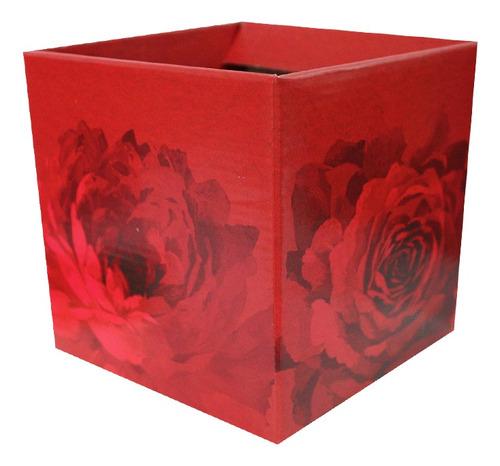 Imagem 1 de 2 de Cachepot Papel Quadrado Estampado Red Bloom Com 10