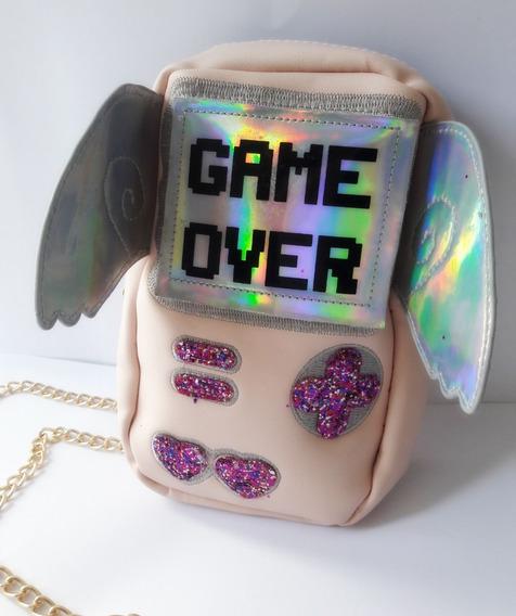 Bolsa Kawaii Video Juego Game Over Rosa Mujer Chic