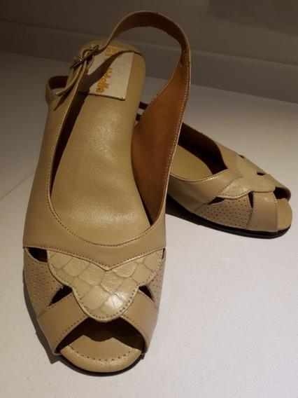 Zapatos Sra. Color Beige Boca De Pez Plantilla Euroconfort