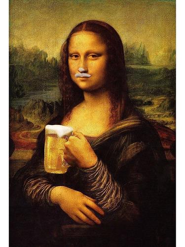 Placa Quadro Decorativo 60x40cm Mona Lisa Cerveja Churrasco