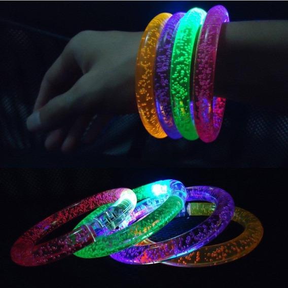 Pulsera Led Luminosa Acrilica Cambia De Color X 10 Cotillon