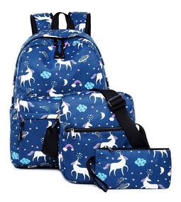 Mochila Notebook Unicornio Com Bolsa Necessarie