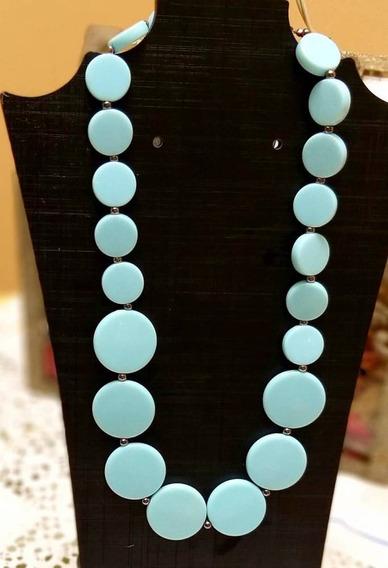 Colar Moda Verão De Pedras Acrílico Azul Sintética