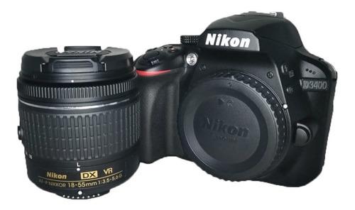 Câmera Nikon D3400 + Lente 18-55 Semi Nova 2900 Cliques