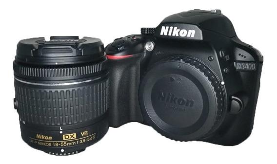 Câmera Nikon D3400 + Lente 18-55 Semi Nova Todos Acessórios